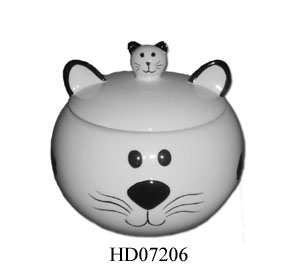 Ceramic cat food canister